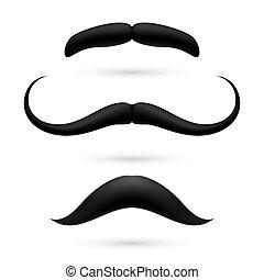 A set of three moustache
