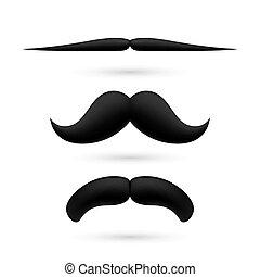 A set of three moustache - A set of three black wax...