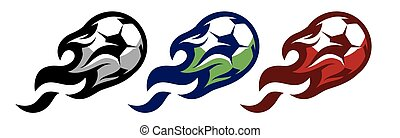 A set of three templates with soccer balls and flames. Elements for design. Colored vector illustration