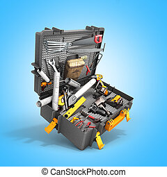 A set of tools in the case 3d render on blue background