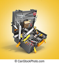 A set of tools in the case 3d render on color background