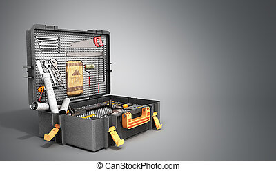 A set of tools in the case 3d render on grey background