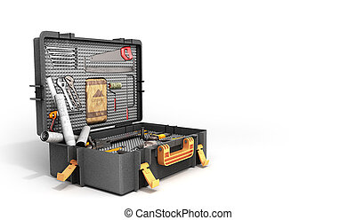 A set of tools in the case 3d render on white background
