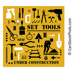 A set of tools silhouettes