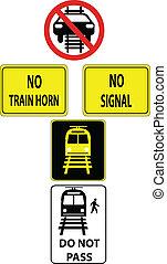 a set of train traffic signs