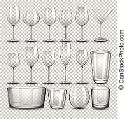 A set of transparent glass