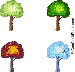 A set of trees. Four seasons: spring, summer, autumn, winter. Isolated on white background. Vector