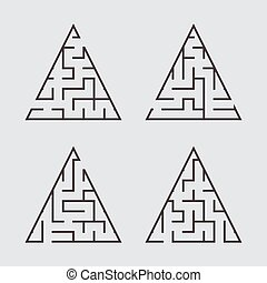 A set of triangular labyrinths for children. A simple flat vector illustration isolated on a gray background.