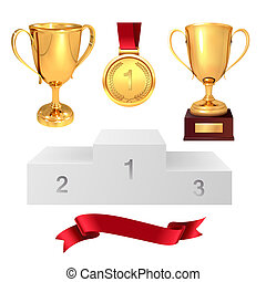 A set of trophies of the winner. Golden cups, gold medal, red ribbon and pjadestal. Isolated on white background. Vector