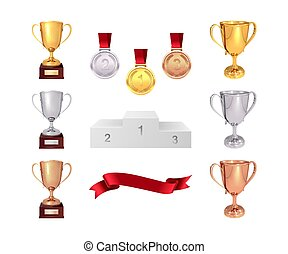 A set of trophies of the winner. Golden, silver and bronze cups, gold medal, red ribbon and pjadestal. Isolated on white background. Vector