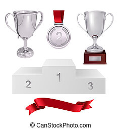 A set of trophies of the winner. Second place. Silver cups, gold medal, red ribbon and pjadestal. Isolated on white background. Vector