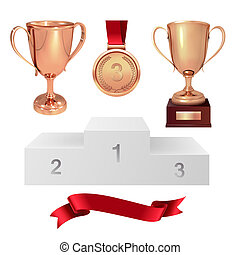 A set of trophies of the winner. Third place. Bronze cups, gold medal, red ribbon and pjadestal. Isolated on white background. Vector