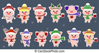 A set of twelve stickers with pigs in different caps and a scarf with cups of different hot drinks in a white stroke. Happy New Year and Merry Christmas. The symbol of the Chinese New Year. Vector