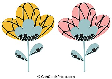 A set of two abstract stylized flowers with pink and yellow buds and pigeon gray stems in a Scandinavian style on a white background. Cute cartoon poppies or tulips. Vector.