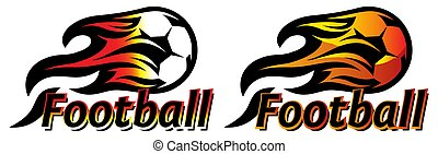 A set of two color templates with soccer balls and flames. Elements for design. Vector illustration