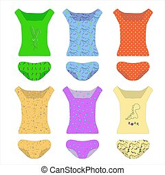 A set of underwear. T-shirts and panties in different colors. Cartoon clothes, knitwear or pajamas isolated on a white background. Bright patterns on colorful clothes for children and adults. Vector illustration for paper doll
