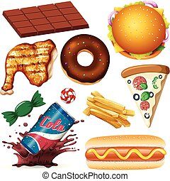 A Set of Unhealthy Food illustration