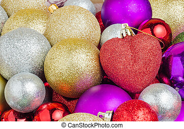 A set of various Christmas balls
