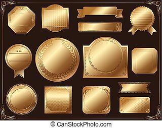 A set of various gold labels, vector illustration.