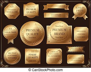 A set of various gold labels, vector illustration.