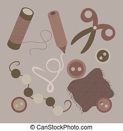 A set of various items for needlework and sewing