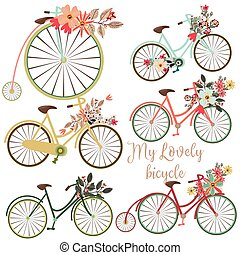 A Set of vector cute bicycles with flowers for design. Ideal...