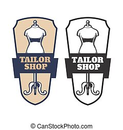 A set of vector illustrations of emblems, signboards, labels, tailor shop stickers.