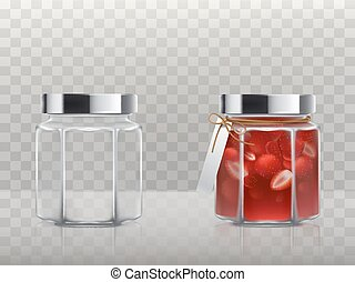 A set of vector illustrations in a realistic style of glass figured jars is empty and with a strawberry jam covered with a silver lid and tied with a twine with a label. Template, element for design.