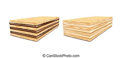 A set of vector illustrations of rectangular crispy wafers ...