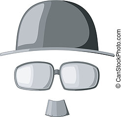 A set of vector images mustache, glasses and hats
