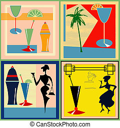 Retro Cocktail labels - A set of vector Retro Cocktail...