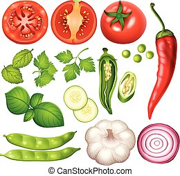 A Set of Vegetable on White Background