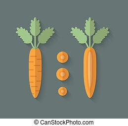 A set of Vegetables in a Flat Style - Carrot - A set of...