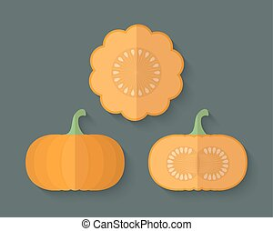 A set of Vegetables in a Flat Style - Pumpkin