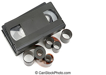 set of video tapes and photographic film isolated on white background. Retro equipment. Flat lay, top view. Free space for text.