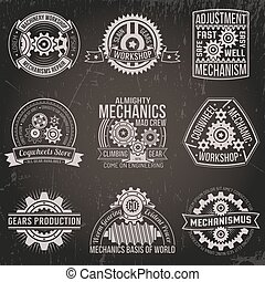 vintage emblems with mechanisms