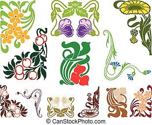 A set of vintage floral elements