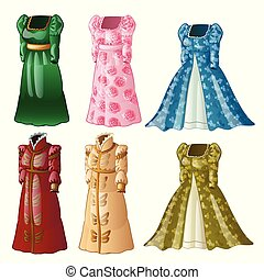 A set of vintage ladies long dresses isolated on white background. Vector close-up cartoon illustration