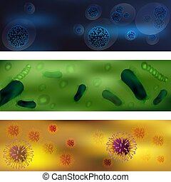 A set of viruses and bacteria. Viruses and bacteria under the microscope. An uninitiated cellular infectious agent that can multiply only in other cells. Vector graphics. Understanding of various diseases