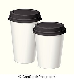 A set of white realistic disposable cups of paper with a...
