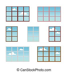 A set of window frames in different colors.