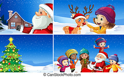 A set of winter christmas