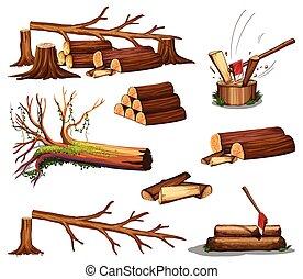 A set of wood cut