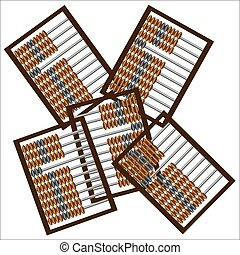 A set of wooden abacus for mathematical calculations, old way of accounting