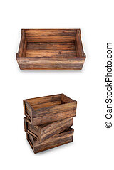 A set of wooden boxes on a white background. 3D illustration