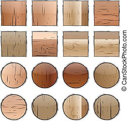A set of wooden buttons, vector