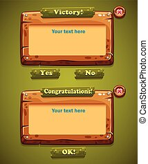 A set of wooden windows user interface with the OK, YES, NO button