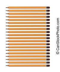 A set of yellow pencils of various hardness. Vector image on white background.