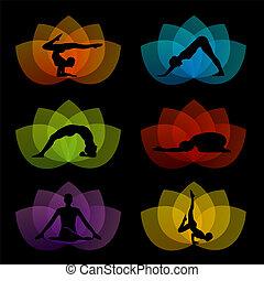A set of yoga and meditation symbol