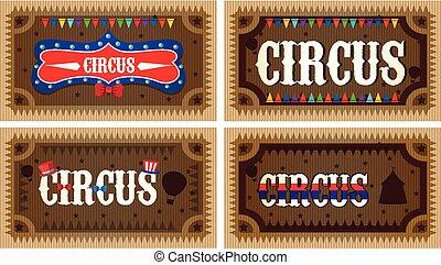 A Set Wooden Circus Banner